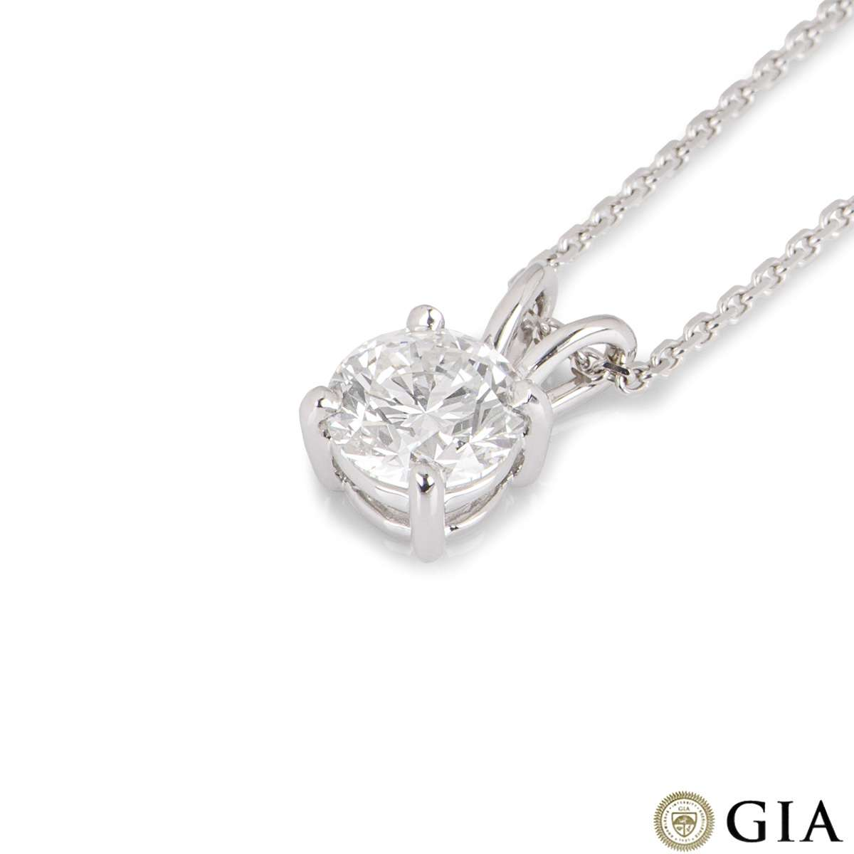 White Gold Round Brilliant Cut Diamond Pendant 1.23ct F/SI1 XXX